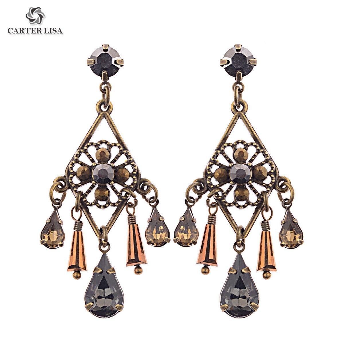 CARTER LISA Vintage Bronze Metal Crystal Chandelier Drop Dangle Earrings Statement Jewelry Ethnic Earrings Oorbellen Brincos