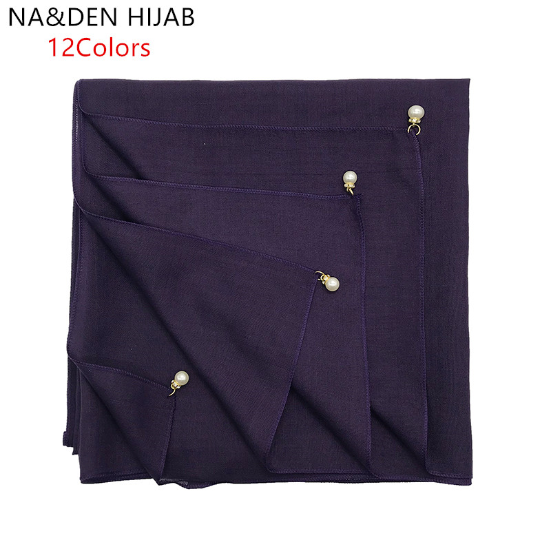 1PC NEW Crystal Chain Edge Shawls Square Pashmina Muslim Headscarf Women Popular Muffler Solid Scarf New Bandana Islamic Hijab