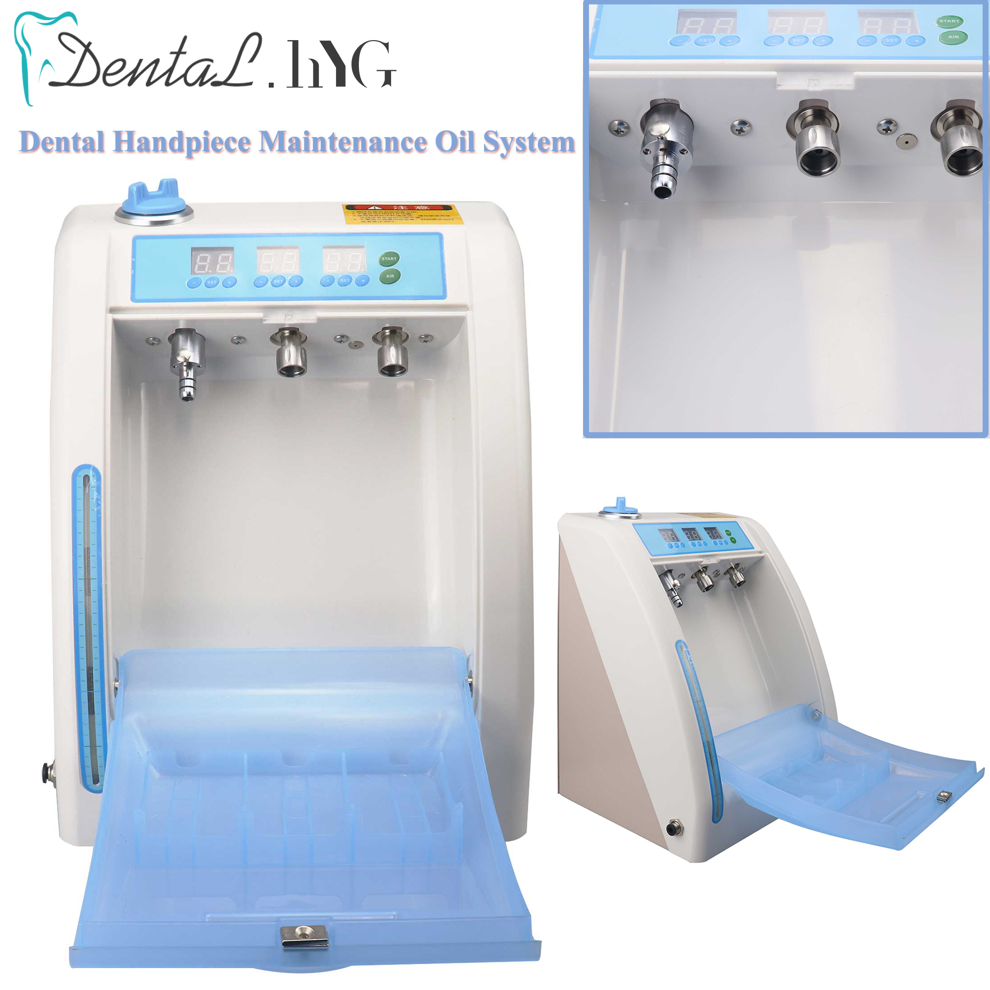 Dental Handpiece Maintenance Oil System 3 Handpiece Ports Connector Spray Cleaning Lubricating Device Oil Lubrication Machine
