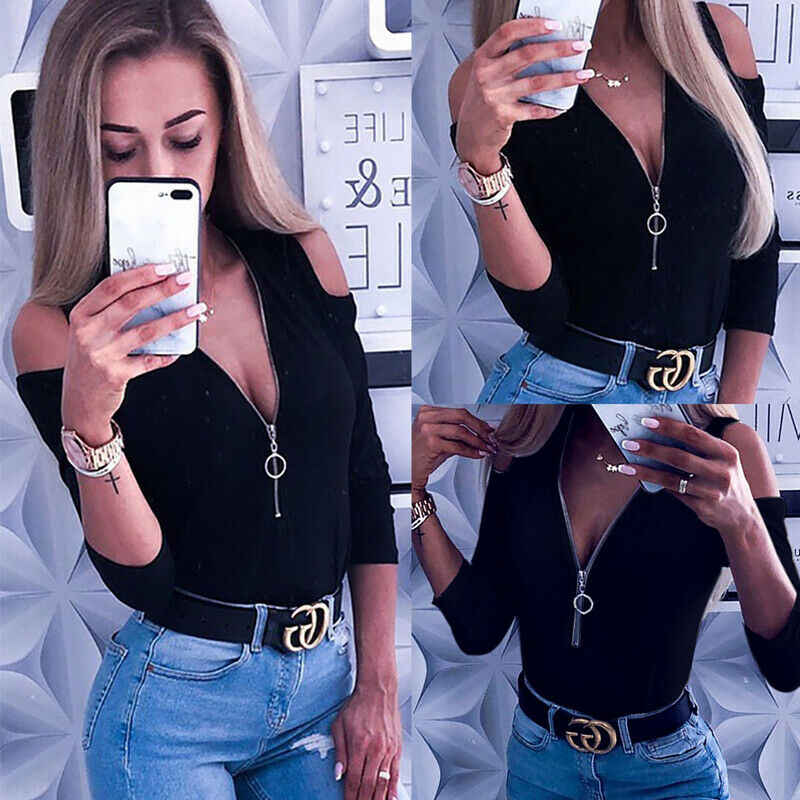 Women Off Shoulder Top Zipper Ladies Plunging Neckline Shirt Daily Sexy Tops 2019 Autumn New