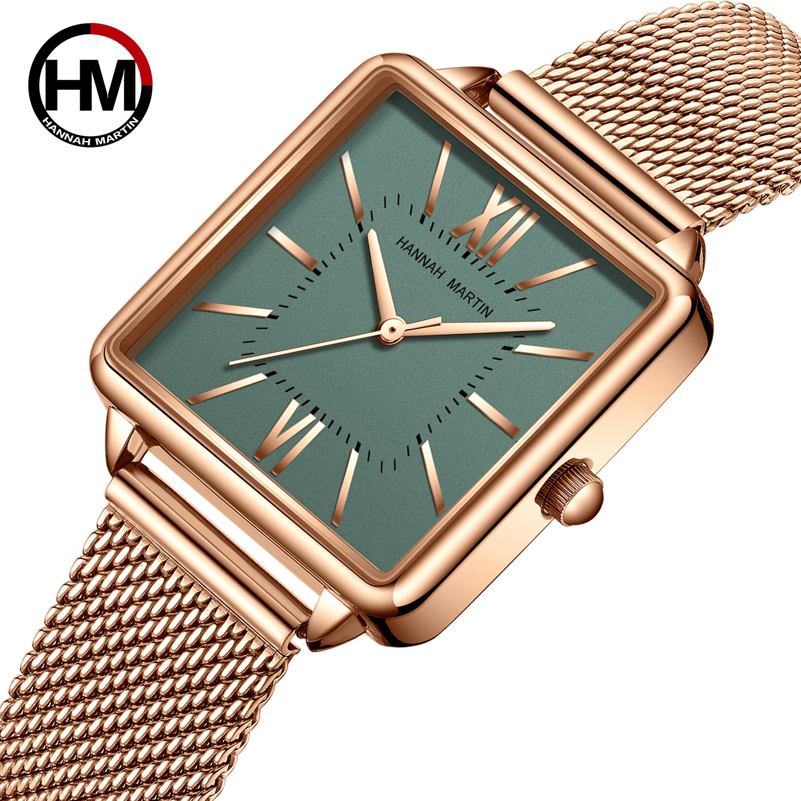 2020 New Top Japan Quartz Movement Women's Watch Design Square Full Stainless Steel Wrist Watches Lady Gold Green Hour A3829