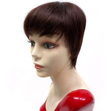 Cheap Short Pixie Cut Human Hair Wigs With Bangs Red Wine Natural Color Straight Remy Brazilian Wig For Black Women Bob Wig Sale