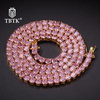 TBTK 4mm Pink Iced Out Necklace Crystal Stones Zirconia Silver Metal Fashion Hiphop Jewelry Women Gifts Charms