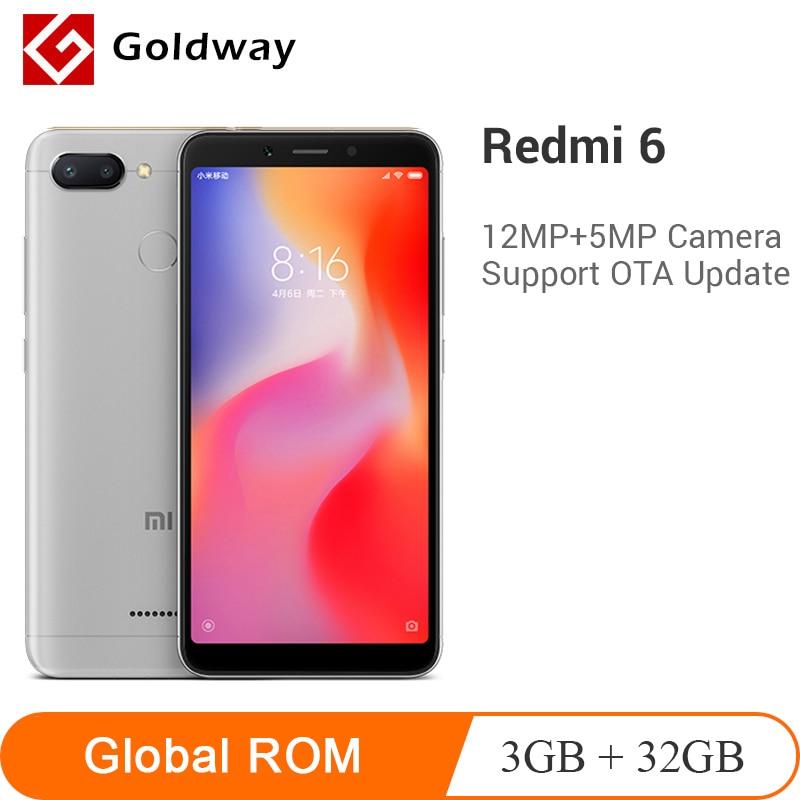 Global ROM Xiaomi Redmi 6 3GB RAM 32GB ROM Smartphone Helio P22 Octa Core CPU 12MP+5MP Dual Cameras 5.45