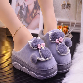 Platform Ladies Sexy Slippers Rhinestone Warm For Women Indoor House Cat Girls Winter Shoes 2020 New Arrival
