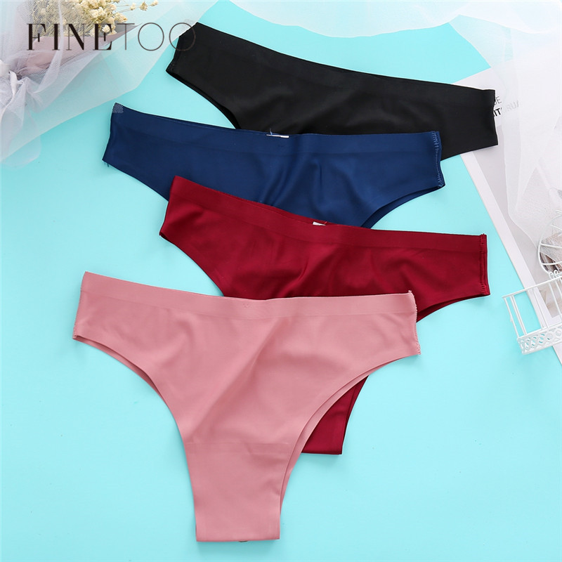 Sexy Briefs Low Waist Women Seamless Underwear 3Pcs/set Ice Silk Panties Soft Thongs Women's Lingerie M-XL Female Underpants New