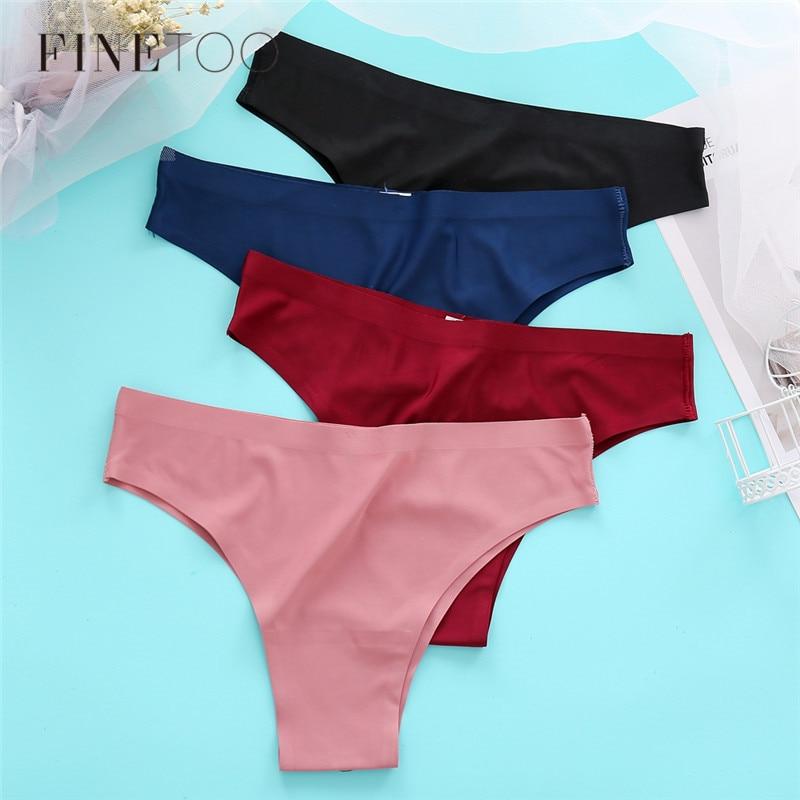 Sexy Briefs Low Waist Women Seamless Underwear 3Pcs/set Ice Silk Panties Soft Thongs Women's Lingerie M-XL Female Underpants New