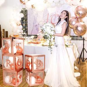 Image 5 - HUIRAN różowe złoto panna młoda być przezroczyste pudełko dekoracje ślubne na wesela zaręczyny dekoracje na wieczór panieński zaopatrzenie na wieczór panieński