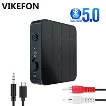Bluetooth 5.0 nadajnik odbiornik RCA Adapter bezprzewodowy Stereo Audio 3.5mm Aux Jack adaptery do telewizora zestaw samochodowy z przycisk sterowania