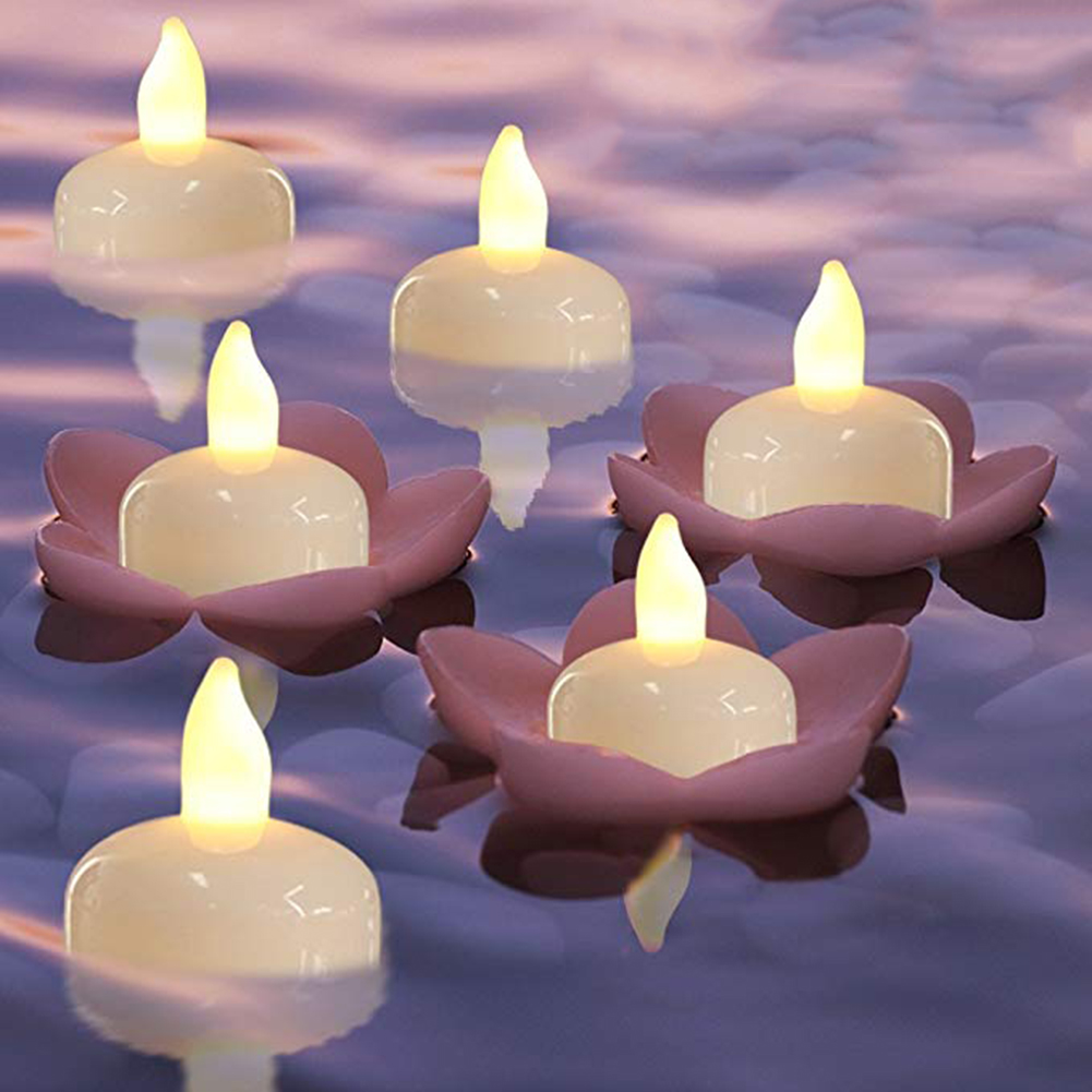 12/24Pcs Waterproof Float Electric Warm Flicker Valentine Decor Tea Light Birthday Creative Supplies Candle