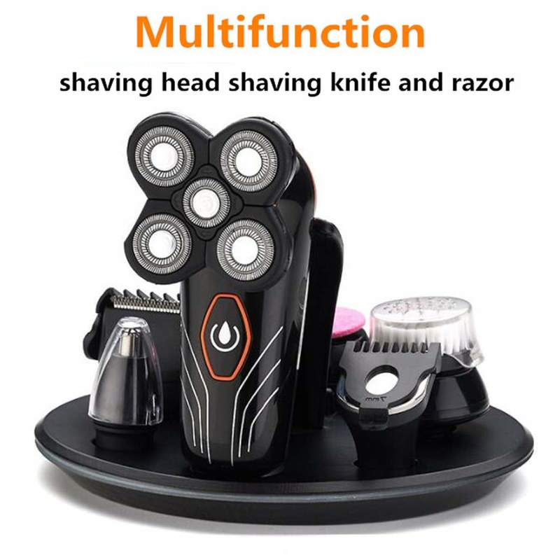 4D Bald Head Hair Clipper 2 In 1 5 Blades Electric Razor Beard Trimmer Shaver For Men Waterproof Rotary Shaving Machine
