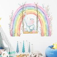 Pegatinas de pared de elefante arcoíris para habitación de niños, calcomanías decorativas de arte para casa o guardería, murales para dormitorio infantil