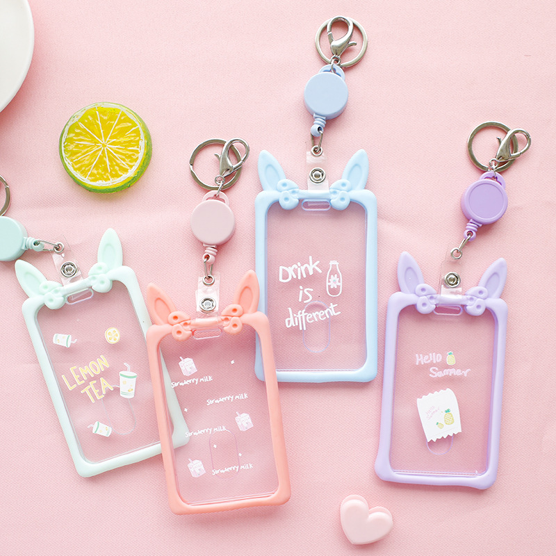 Cartoon Transparent Card Holder Case Soft Rabbit Ear Silicone Student Bus Card Cover With Retractable Keychain image