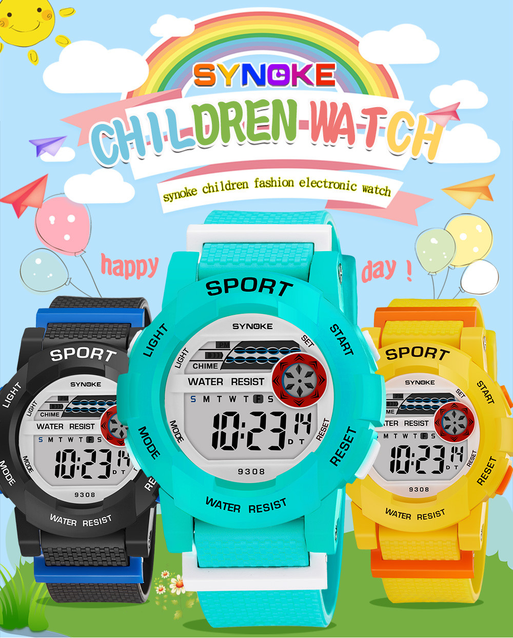 SYNOKE 2019 New Fashion Sports Watches For Children Boys Student Waterproof Sports Watch LED Digital Date Wristwatch