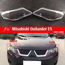 Lente do farol para mitsubishi outlander ex 2007 2008 2009 farol capa substituição frente luz do carro escudo automático brilhante sombra