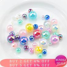 6/8/10MM Shiny AB color resin pearls beads Imitation Pearls beads round Beads for necklace bracelet making Jewelry DIY 50g/lot