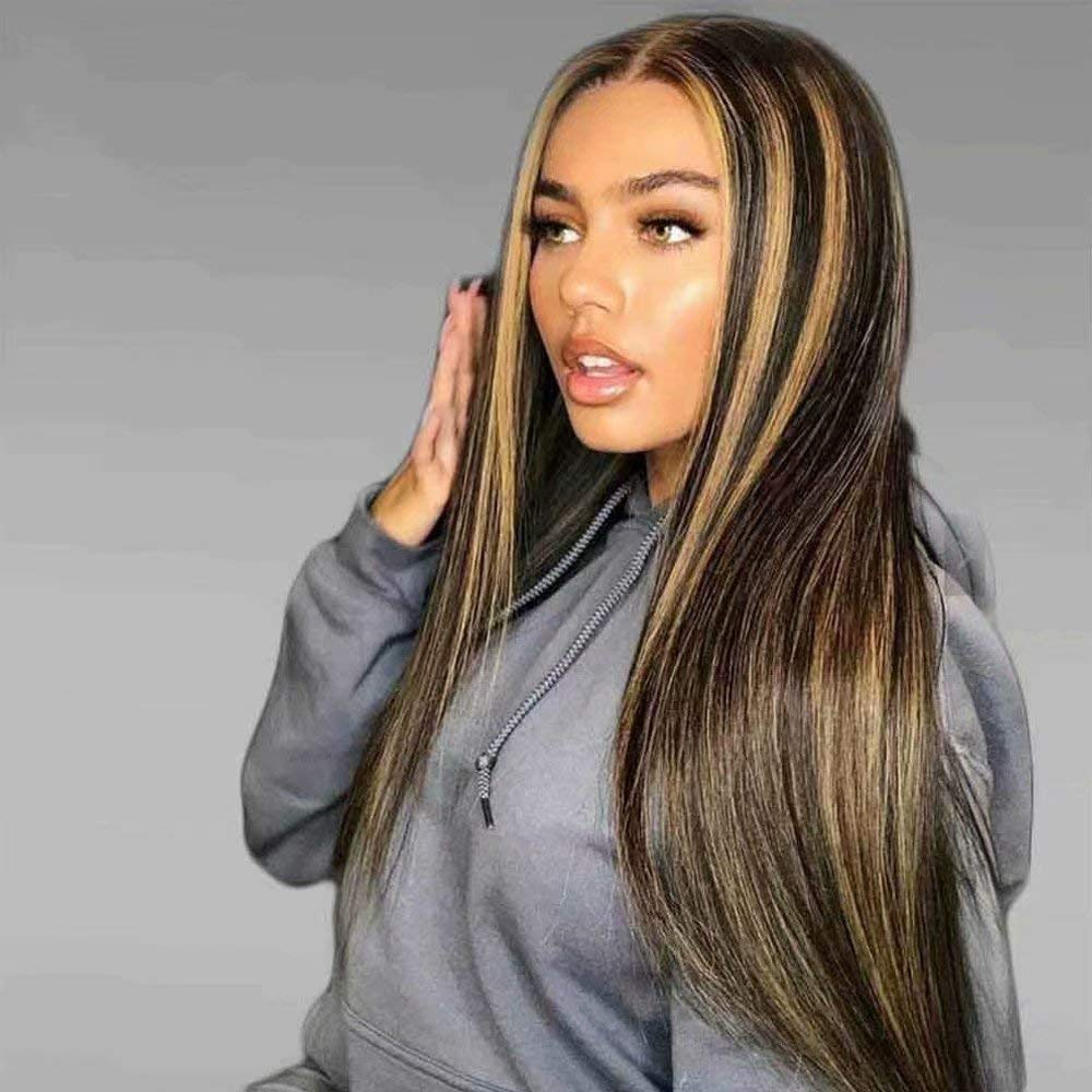 13x6 Ombre Highlight Human Hair Wig Brown Honey Blonde Colored Lace Front Wigs  With Fake Scalp Black Women Remy Straight