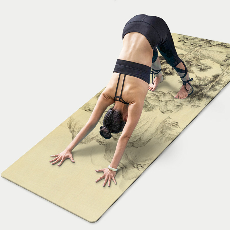 183*66*0.5CM Suede TPE Yoga Mat Chinese Landscape Fitness Gym Exercise Workout Mat Pad Non-slip Environmental Picnic Blanket