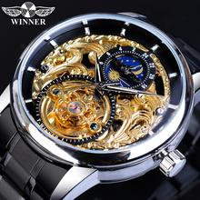 Winner Skeleton Business Man Wristwatches Automatic Mechanical Stainless Steel Moon Phase Tourbillon Waterproof Montre Homme winner men fashion skeleton mechanical watch stainess steel clock transparent steampunk montre homme wristwatches erkek kol saat