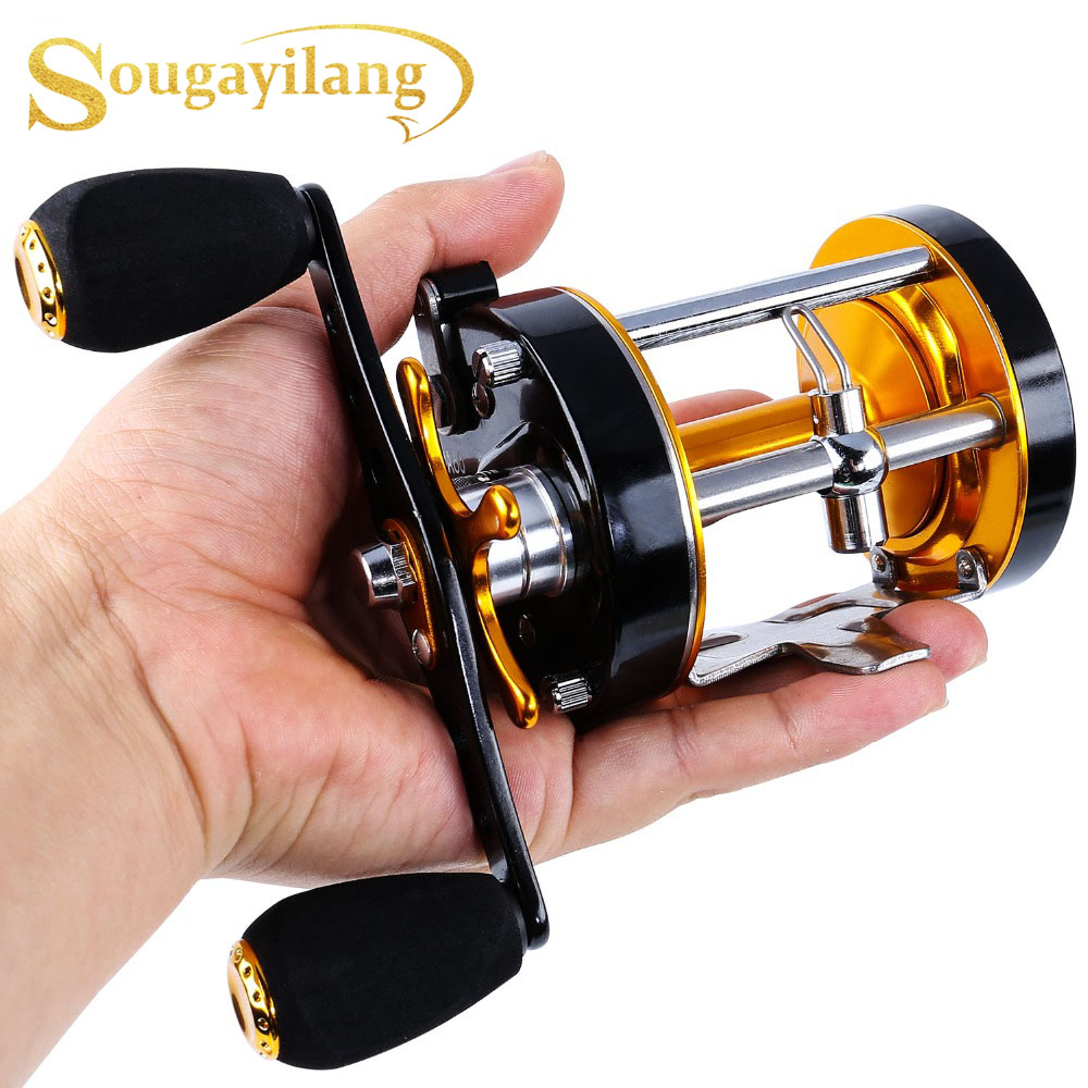 Sougayilang Right Hand Round Baitcasting Reel - Conventional Fishing Reel Wheel Reinforced Metal Body and Supreme Star Drag