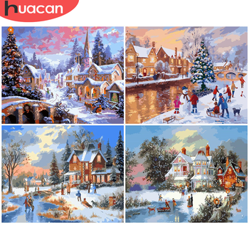 HUACAN DIY Pictures By Number House Painting By Numbers Winter Drawing On Canvas Hand Painted Paintings Landscape Home Decor