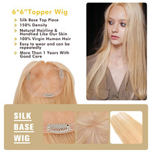 "MW Lace +PU Topper Wig Virgin Remy Human Hair For Women 6*6"" Handtied Blond Clip Hair Toupees 150% Density Natural Hairline(China)"
