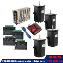 23HS10028 Stepper motor body length 100mm + 4 PCS driver TB6600 + USB power controller wire