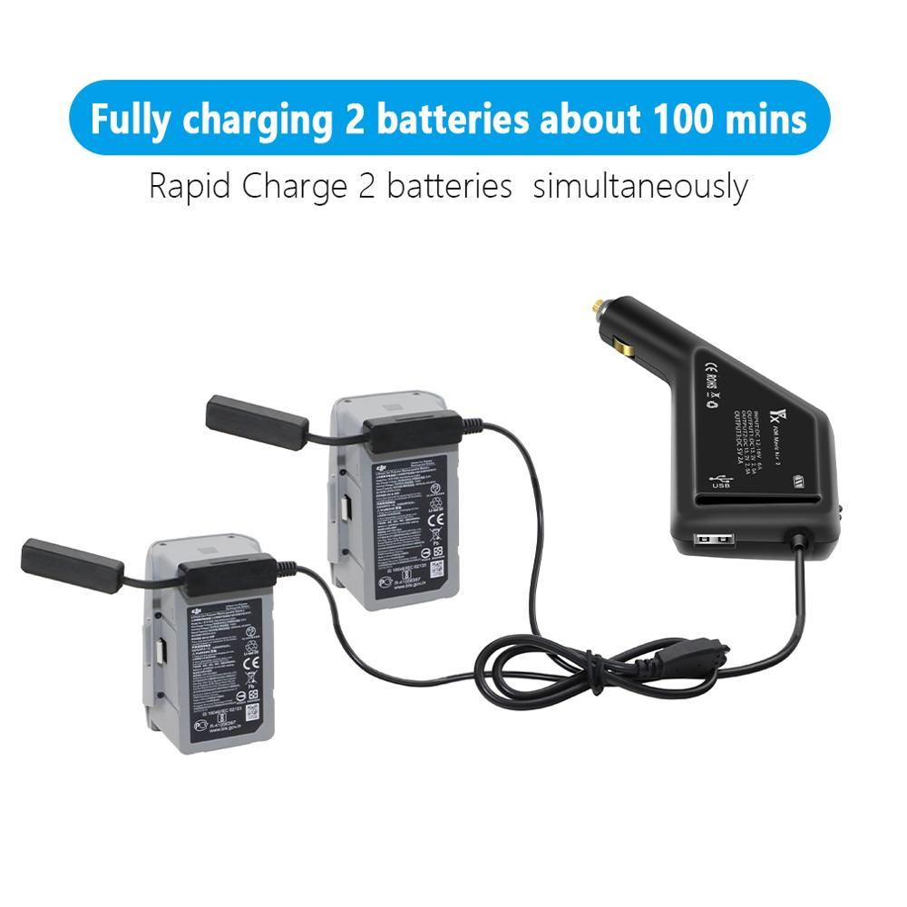 3 In 1 Car Charger Mavic Air 2 Car Charger Battery Charging USB Port Remote Control Charge For DJI Mavic Air 2 Charger Hub