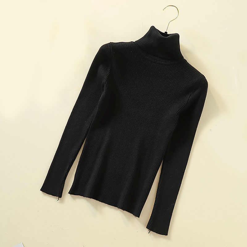 Lucyever 터틀넥 여성 풀오버 스웨터 봄 점퍼 니트 기본 탑 패션 가을 긴 소매 한국 여성 의류 2020
