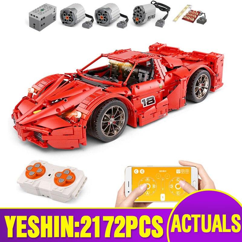 Yeshin moteur fonction voiture le 1: 8 rouge course Sport ensemble de voiture APP RC technique voiture modèle enfants cadeaux de noël blocs de construction briques