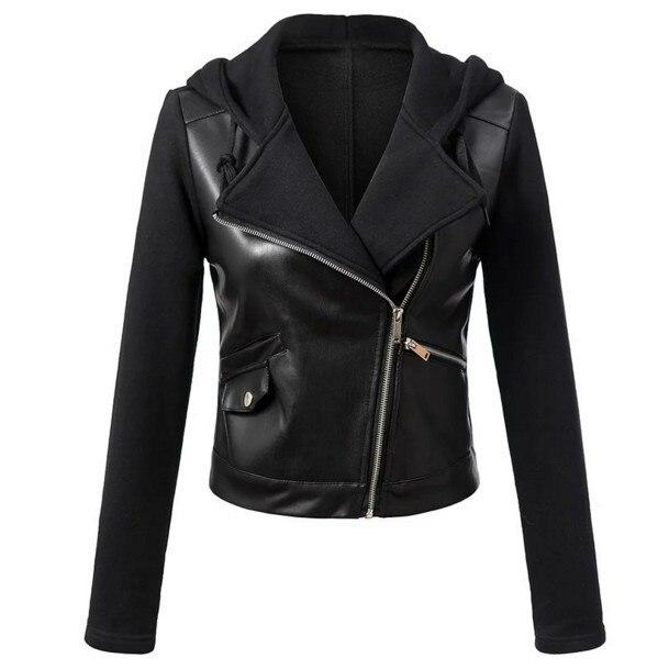 2018 New Fashion Women Autumn Winter Black Faux   Leather   PU Jackets Zipper Casual Black Moto Basic Coat Hooded Biker Jacket Tops