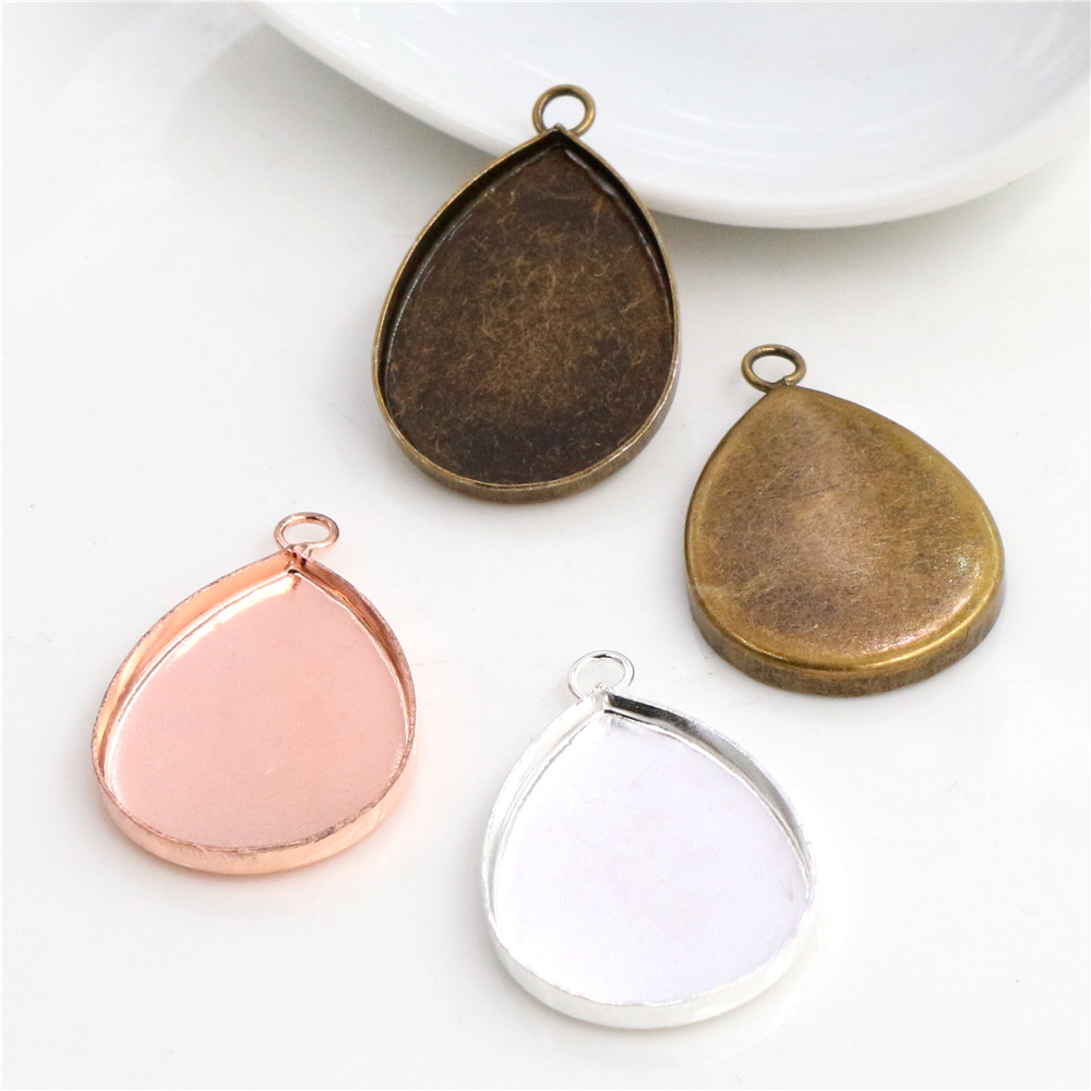 10pcs 18x25mm High Quality 3 Colors Plated Copper Drop Style Tooth Cabochon Base Cameo Settings Cabochon Cameo Base