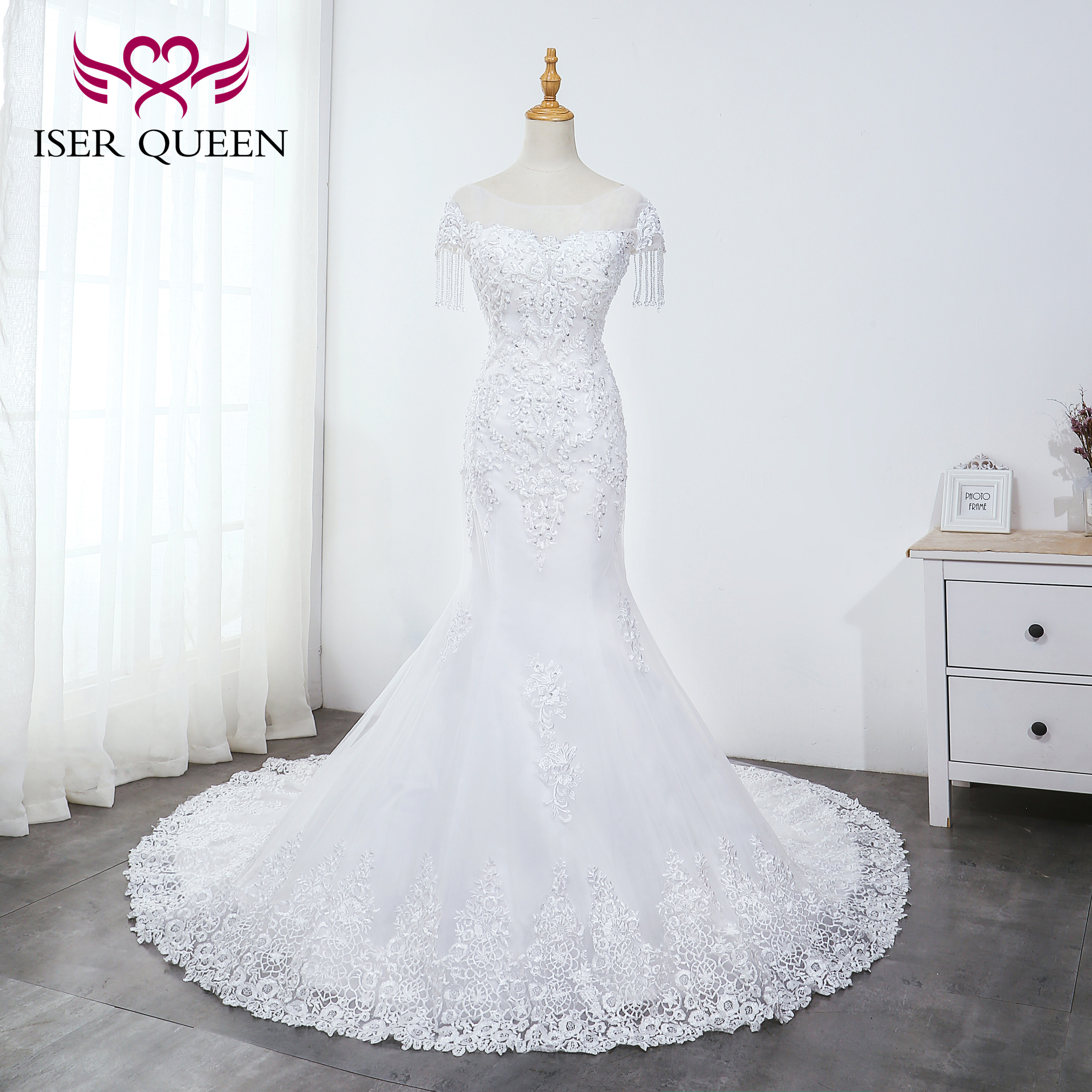 O-neck Heavy Beading Mermaid Wedding Dress Pure White Tassel Bridal Gown Embroidery Tulle Lace Up Wedding Dresses WX0042