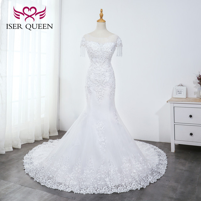 O neck pesado beading sereia vestido de casamento branco puro borla vestido de noiva bordado tule rendas até vestidos de casamento wx0042