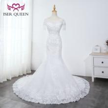 O צוואר כבד ואגלי בת ים חתונת שמלת טהור לבן ציצית כלה שמלת רקמת טול תחרה עד חתונת שמלות WX0042