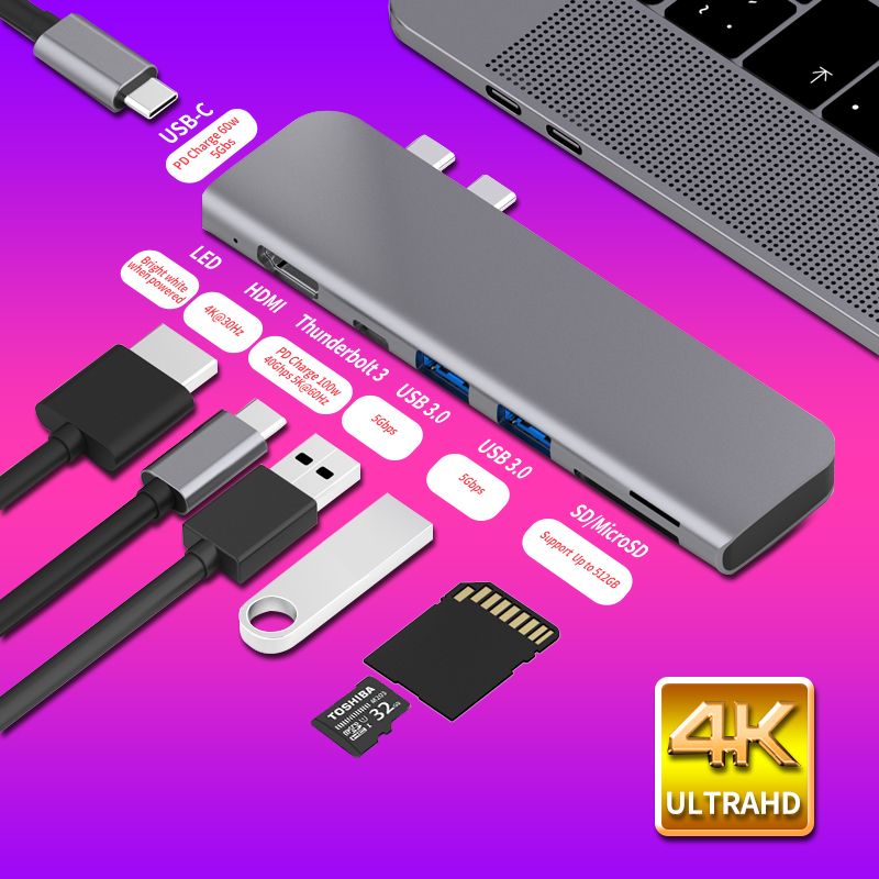 USB-C HUB Type C to 4K HDMI USB 3.0 Adapter SD Card Reader for 2019 MacBook Pro