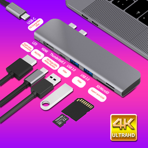 Image 1 - USB 3.0 Type C Hub к HDMI адаптеру 4K Thunderbolt 3 USB C Hub с Hub 3,1 TF SD Reader слот PD для MacBook Pro/Air 3,0 2018