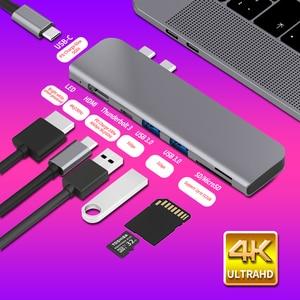 USB 3.1 Type-C Hub To HDMI Adapter 4K Thunderbolt 3 USB C Hub with Hub 3.0 TF SD Reader Slot PD for MacBook Pro/Air 2018 - 2020