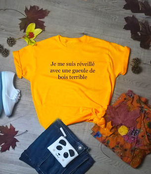 New arrival street style French t shirt hungover slogan yellow women fashion girl cotton aesthetic grunge tumblr tee tops- K226 image