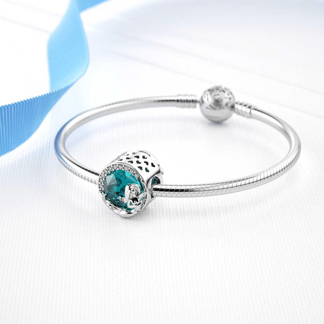 Jiayiqi sereia encantos 925 prata esterlina luz azul cristal cz contas caber pandora encantos pulseiras originais diy jóias finas
