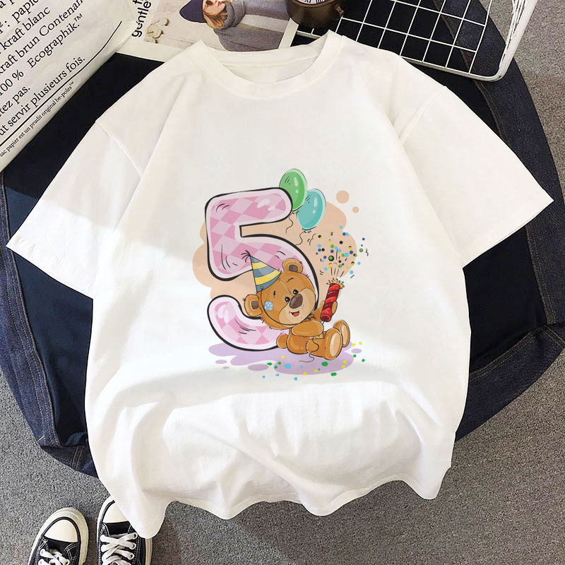 Funny New <font><b>Birthday</b></font> Shirt 1-9 Years Old Number Print <font><b>Baby</b></font> Girl <font><b>Tshirt</b></font> Happy Gift Boys Clothes Kawaii Cartoon T Shirt Kids Casual image