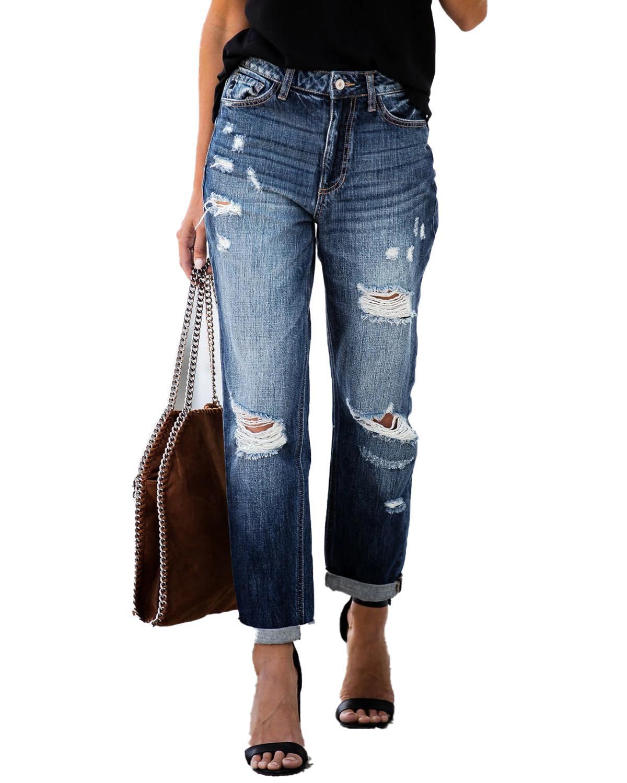 2020 New Ripped High Waist Retro Jeans For Women Mom Jeans Denim Pants Femme Boyfriend Loose Hole Jeans Trousers Ladies Jeans