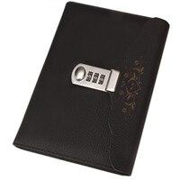 Schwarz Heißer Leder Notebook Geschäft Persönliche Tagebuch mit Schloss Code Dicken Notizblock Schreibwaren