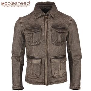 Image 1 - ヴィンテージユーズド加工オートバイの革のジャケット厚い 100% 天然牛革スリムモトバイカー革コート男性冬服 M217