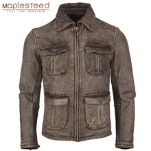 בציר במצוקה אופנוע עור מעיל עבה 100% עור פרה טבעי Slim Moto Biker עור מעיל גברים חורף בגדי M217