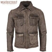 Afligido do vintage Jaqueta de Couro Da Motocicleta Grosso 100% Couro Natural Magro Moto Motociclista Homens do Revestimento De Couro Roupas de Inverno M217