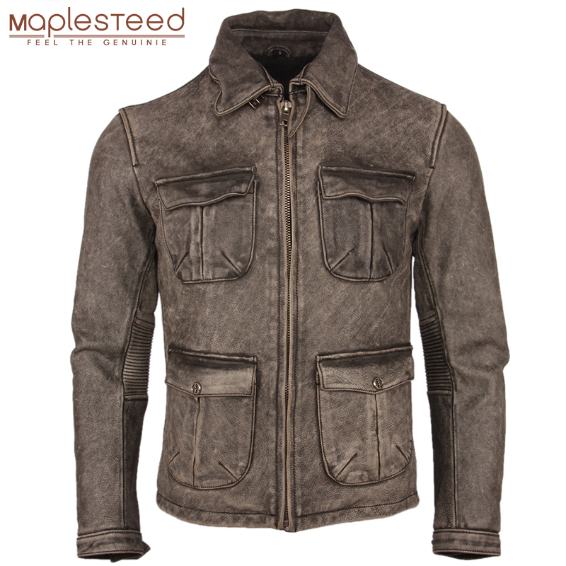 Vintage Distressed Motorcycle Leather Jacket Thick 100% Natural Cowhide Slim Moto Biker Leather Coat Men Winter Clothing M217