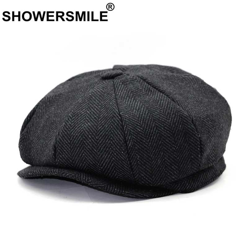SHOWERSMILE Brand Beret Men Women Wool Tweed Hats Grey Newsboy Caps Gatsby Octagonal Cap Herringbone Vintage British Accessories