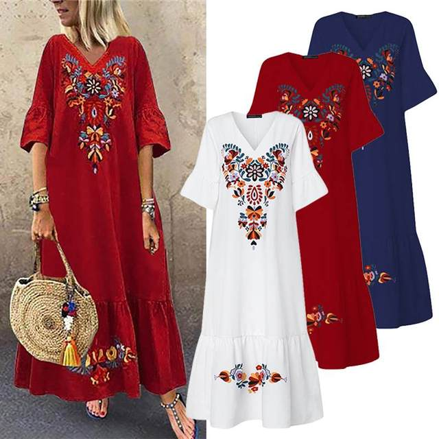 what a fun long and artistic dress,  4
