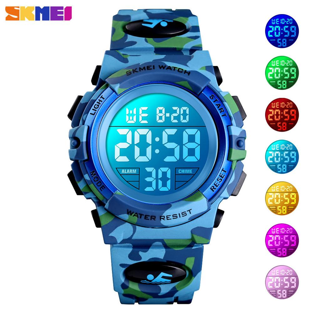 <font><b>SKMEI</b></font> Military child digit watch Kids Sport Watches 50M Waterproof Electronic Wristwatch Children Digital Watch For Boys Girls image
